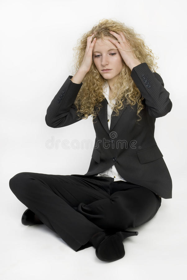 Portrait of a stressed young businesswoman. royalty free stock image