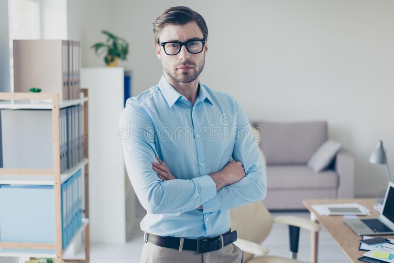 Portrait of strict serious smart successful boss dressed in blue royalty free stock photo