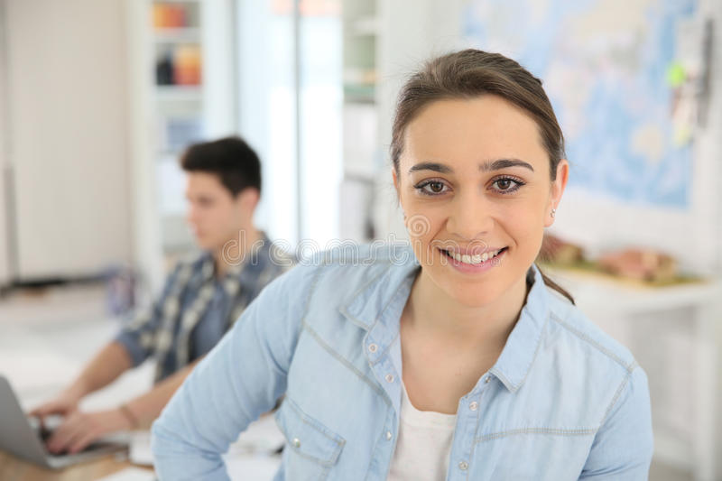 Portrait of student girl attending class stock photography