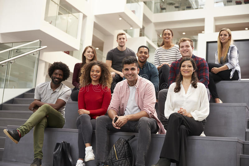 Portrait Of Student Group On Steps Of Campus Building stock photos