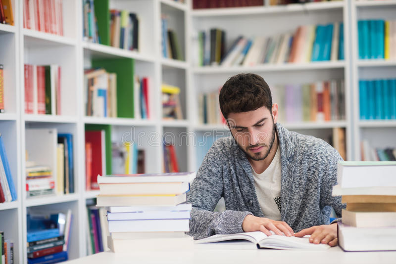 Portrait of student while reading book in school library royalty free stock images