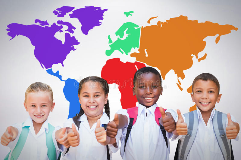 Composite image of portrait of students showing thumbs up sign. Portrait of students showing thumbs up sign against grey background stock image