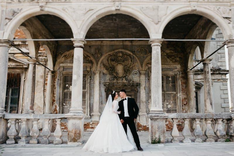 Portrait stupéfiant d'un couple l'épousant près du vieux château photo libre de droits