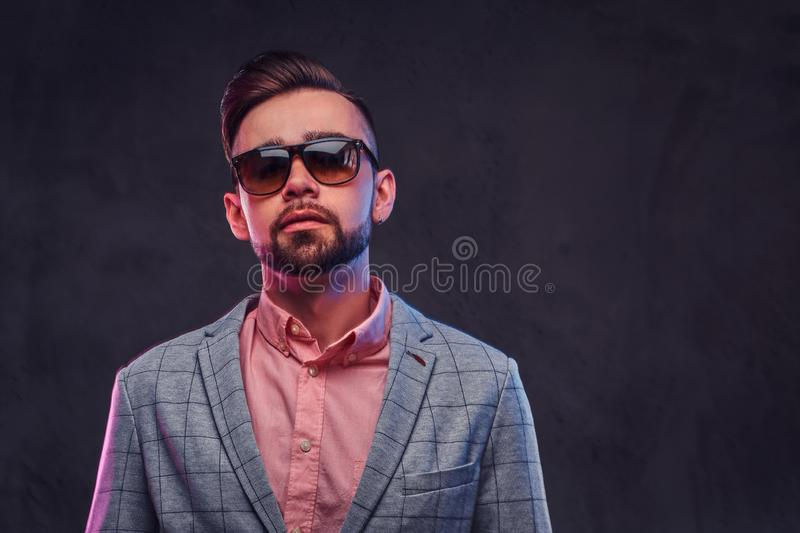 Portrait of styilish proud man in checkered blazer, pink shirt and sunglasses.  stock photos