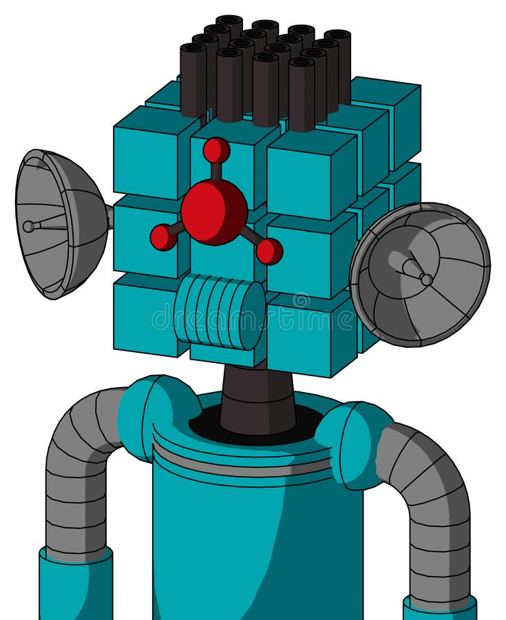 Blue Robot With Cube Head And Speakers Mouth And Cyclops Compound Eyes And Pipe Hair. Portrait style Blue Robot With Cube Head And Speakers Mouth And Cyclops royalty free illustration