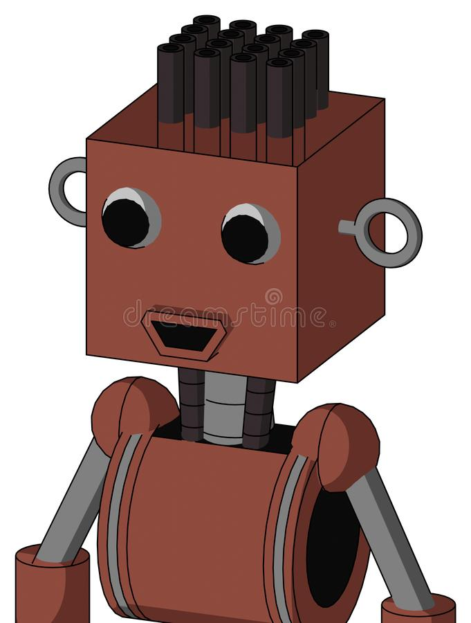 Brown Droid With Box Head And Happy Mouth And Two Eyes And Pipe Hair stock photo