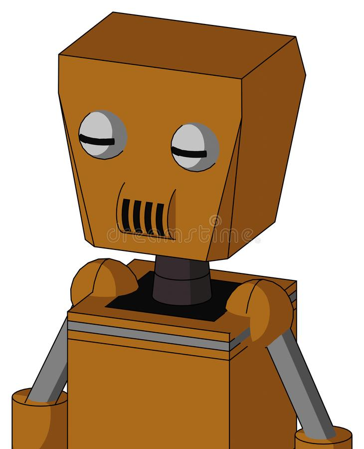 Dirty-Orange Mech With Box Head And Speakers Mouth And Two Eyes stock photo