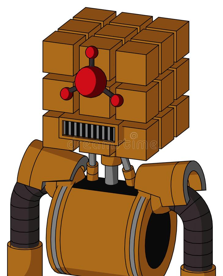 Dirty-Orange Mech With Cube Head And Square Mouth And Cyclops Compound Eyes. Portrait style Dirty-Orange Mech With Cube Head And Square Mouth And Cyclops royalty free illustration
