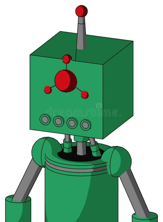 Green Automaton With Box Head And Pipes Mouth And Cyclops Compound Eyes And Single Led Antenna. Portrait style Green Automaton With Box Head And Pipes Mouth And stock illustration