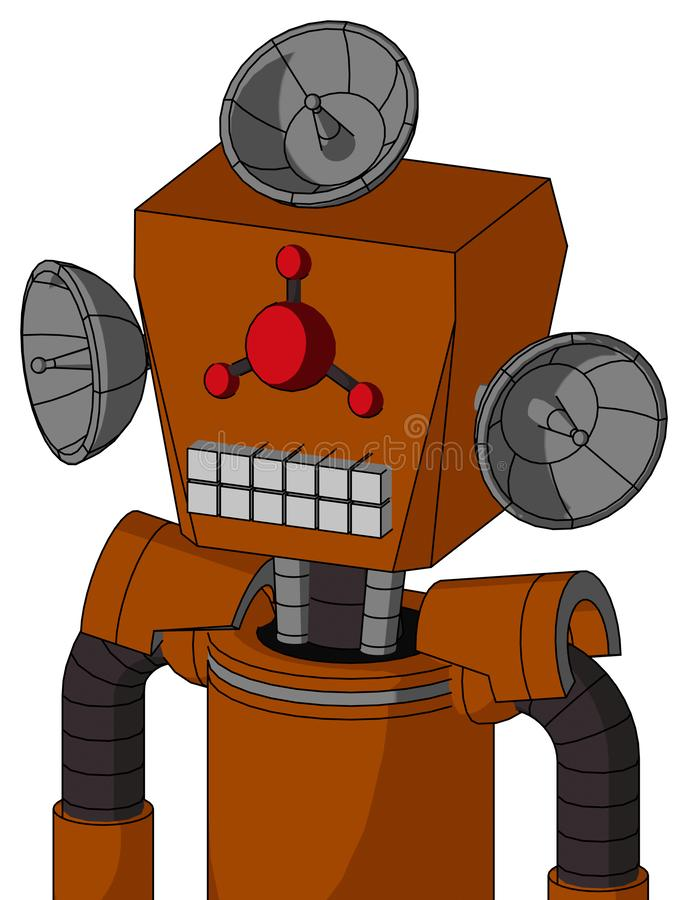 Redish-Orange Mech With Box Head And Keyboard Mouth And Cyclops Compound Eyes And Radar Dish Hat. Portrait style Redish-Orange Mech With Box Head And Keyboard royalty free illustration