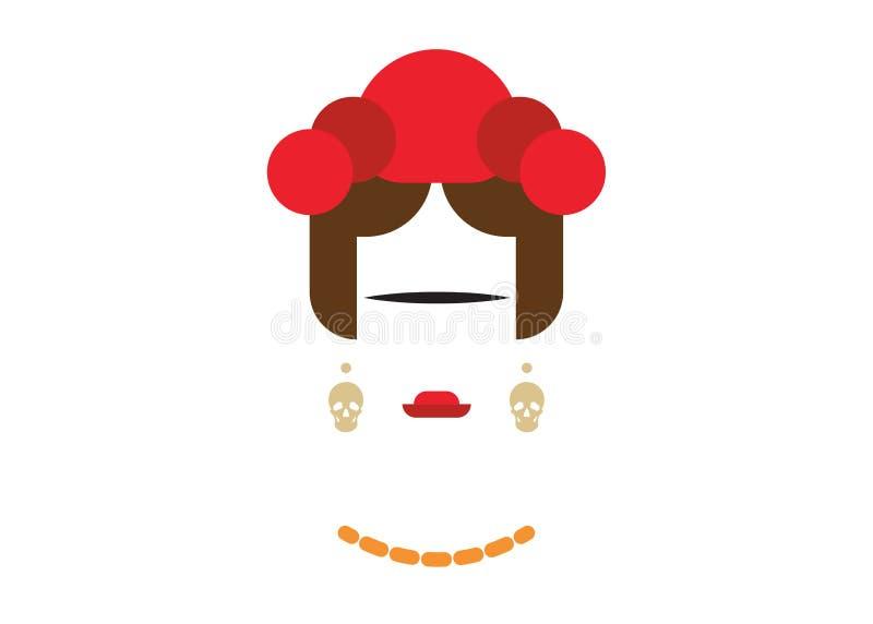 Portrait stylisé de femme mexicaine avec des crânes de boucles d'oreille, inspiration de Frida Kahlo, vecteur d'isolement illustration libre de droits