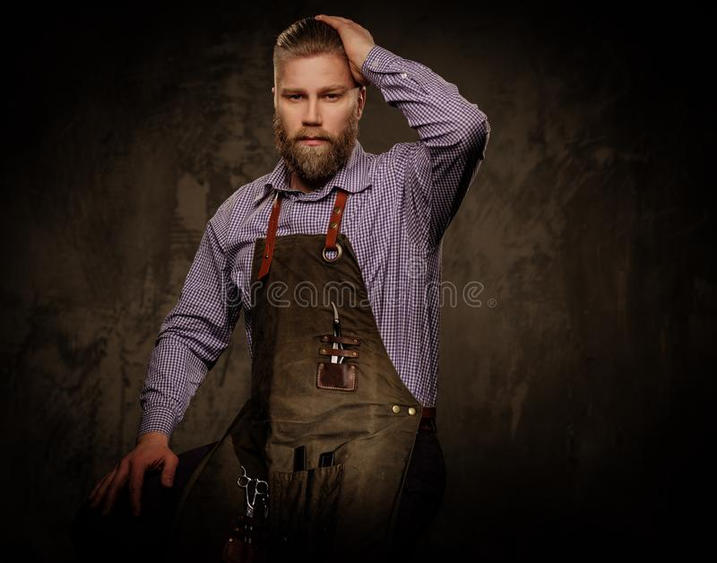 Portrait of stylish barber with beard and professional tools on a dark background. stock image