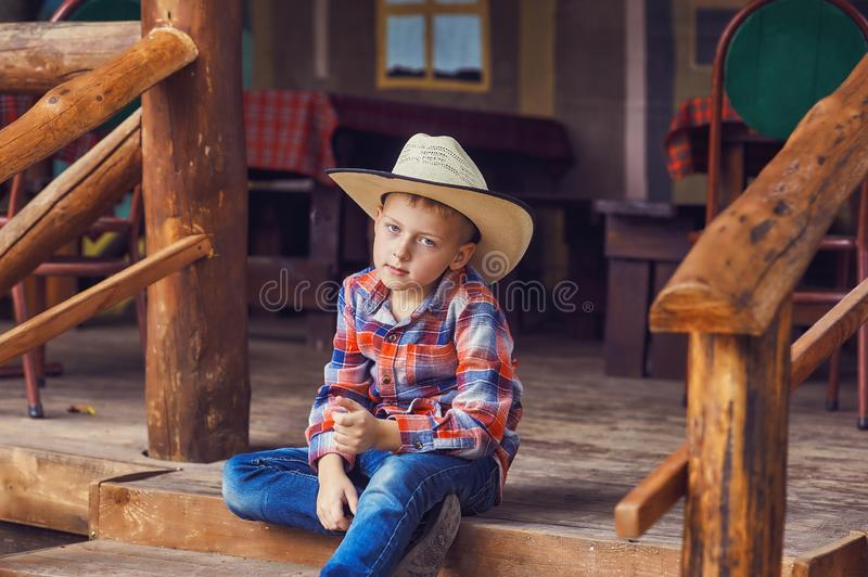 Portrait of a stylish beautiful young boy stock photography