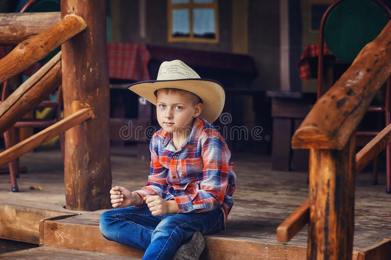 Portrait of a stylish beautiful young boy royalty free stock images