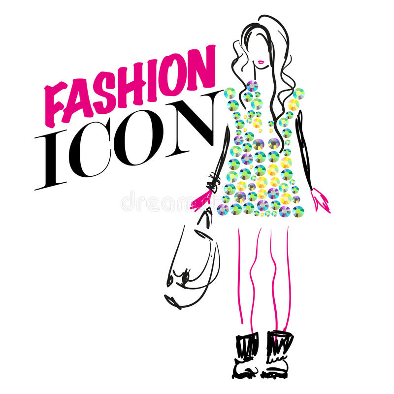 Portrait of stylish girl on white background with text. vector illustration