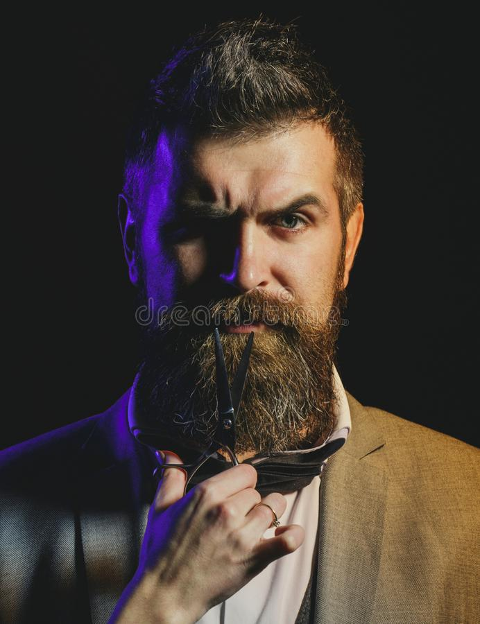 Portrait of stylish man beard. Bearded man, bearded male. Barber scissors, barber shop. Vintage barbershop, shaving stock image