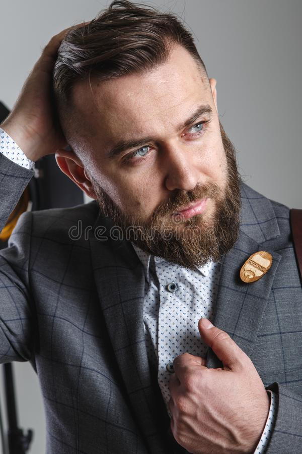 Surprising Portrait Of A Stylish Man With A Beard On White Background Stock Schematic Wiring Diagrams Phreekkolirunnerswayorg