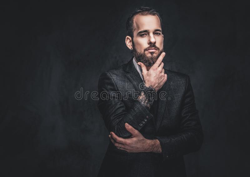 Portrait of a stylish serious bearded male. stock images