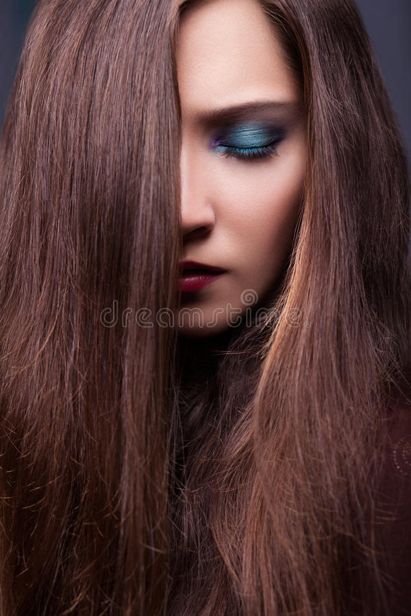Download Portrait Of Stylish Woman  With Long Brown Straight Hair Stock Image - Image: 28068331