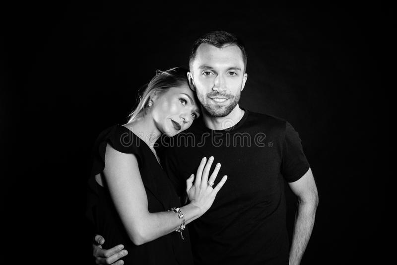 Portrait of stylish young couple, pretty woman and handsome man stock photo