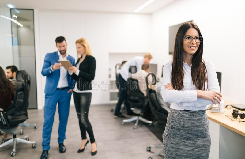 Portrait of successful beautiful businesswoman in office royalty free stock photography