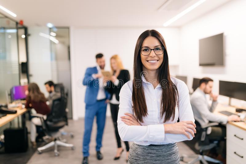 Portrait of successful beautiful businesswoman in office royalty free stock images