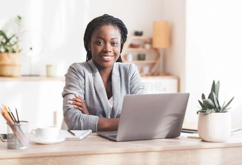 Portrait Of Successful Black Millennial Businesswoman At Workplace In Modern Office stock images