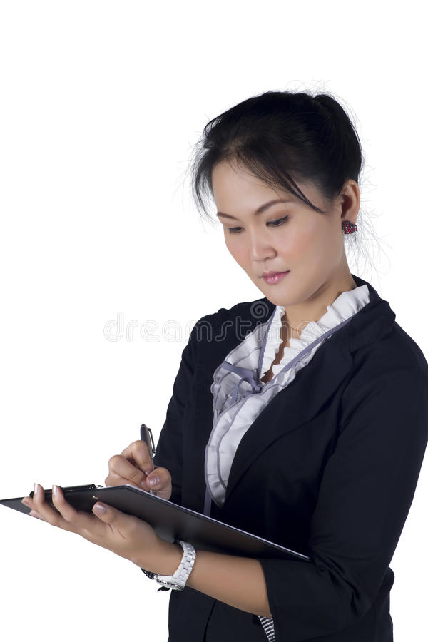 Download Portrait Of A Successful Business Woman Holding A Folder Stock Image - Image: 28512995