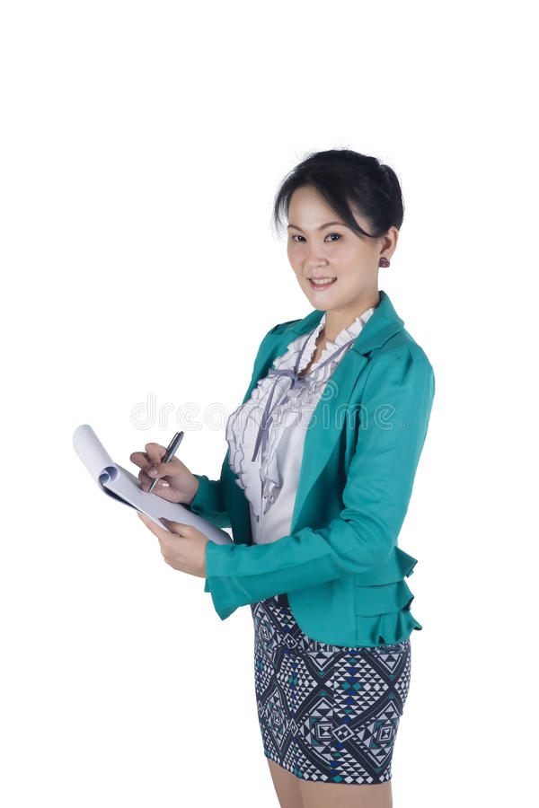 Portrait Of A Successful Business Woman Holding A Folder Stock Image