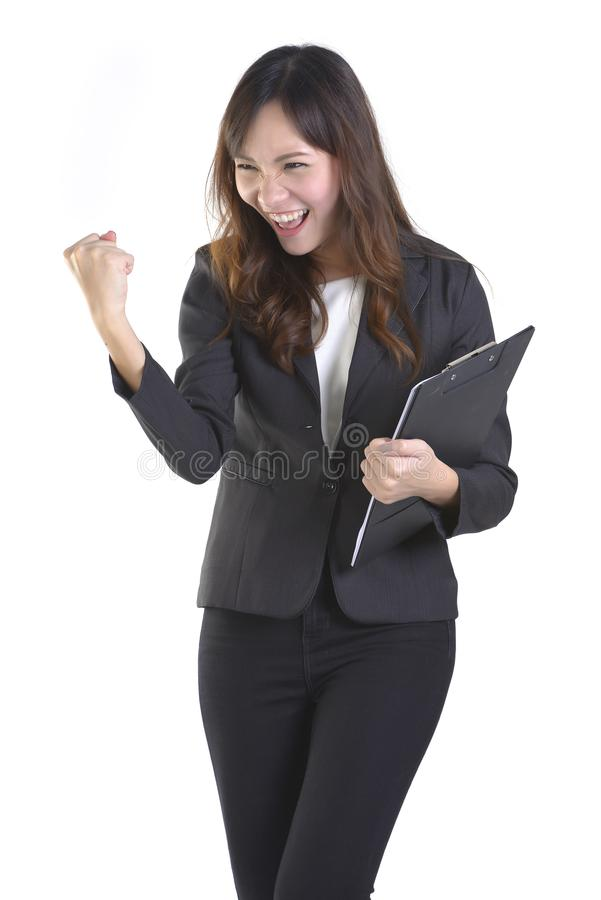 Portrait successful business woman raised hands and celebrate achievement goal isolated over a white background.  royalty free stock photos