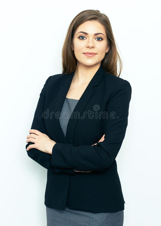 Portrait of successful business woman on white background. stock image