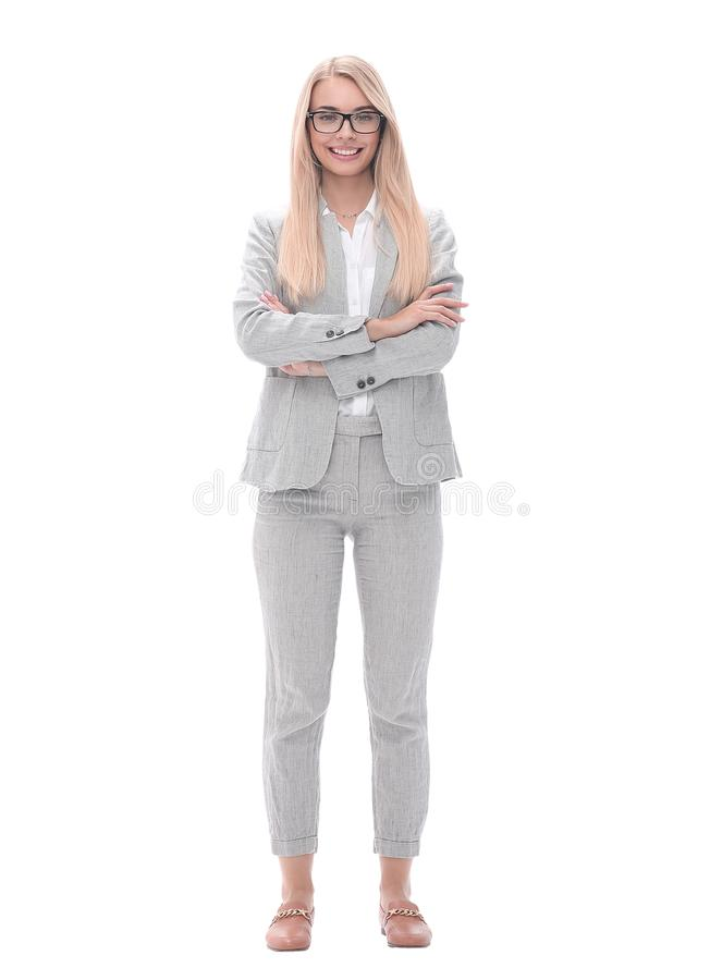 Portrait of a successful confident businesswoman .isolated on white. In full growth. portrait of a successful confident businesswoman .isolated on white royalty free stock photos