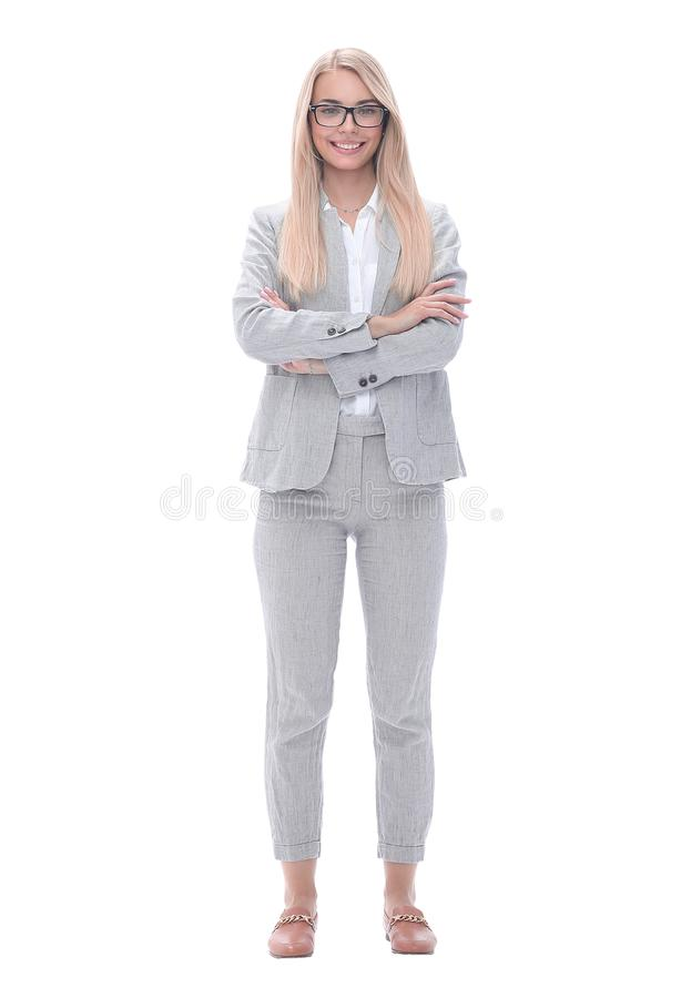 Portrait of a successful confident businesswoman .isolated on white. In full growth. portrait of a successful confident businesswoman .isolated on white stock image