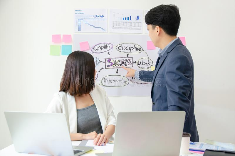 Portrait of successful male manager leading team colleague in modern office. Standup meeting, Scrum master and Agile concept stock photography