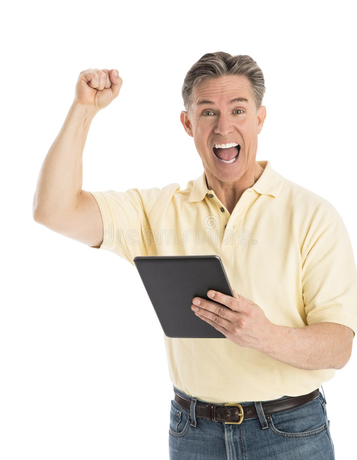 Download Portrait Of Successful Man Shouting While Holding Digital Tablet Stock Photo - Image of 60, happiness: 32062014