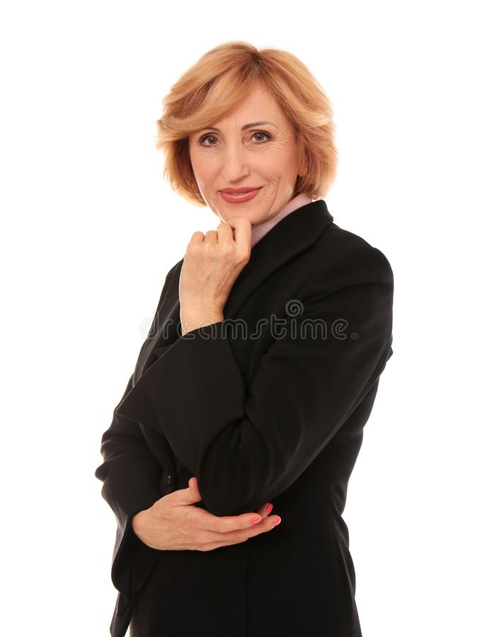 Portrait of successful senior businesswoman isolated royalty free stock photos