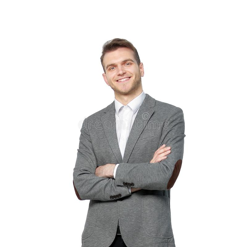 Portrait of a successful young businessman.isolated on white royalty free stock photos