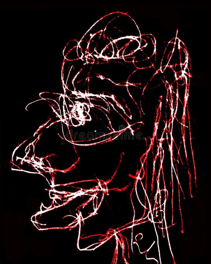 Portrait supérieur peu précis tiré par la main de femme illustration de vecteur