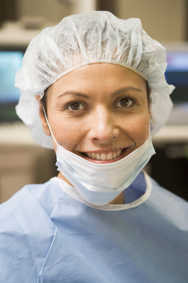 Portrait Of Surgeon In Surgical Scrubs. Portrait Of Female Surgeon In Surgical Scrubs stock photography