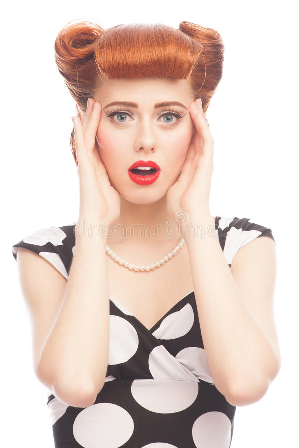 Surprised pin-up woman royalty free stock photos