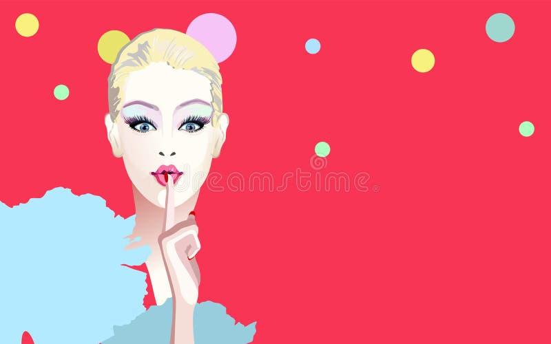 Portrait surprised girl , fashion art, beauty. Abstract watercolor portrait surprised girl , fashion art, beauty. Color vector prints, Makeup, women shop, sale stock illustration