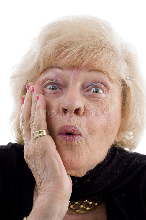 Portrait of surprised old woman. With white background stock images