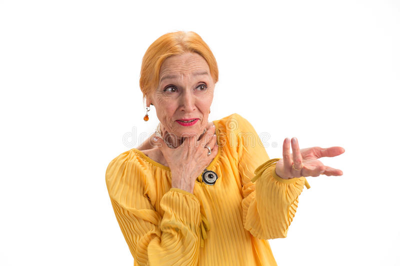Portrait of surprised old woman. stock photography