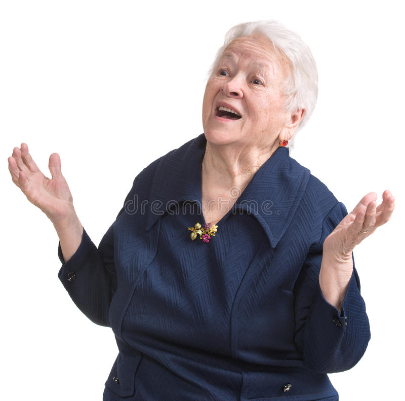 Portrait of surprised old woman. On a white background stock photography