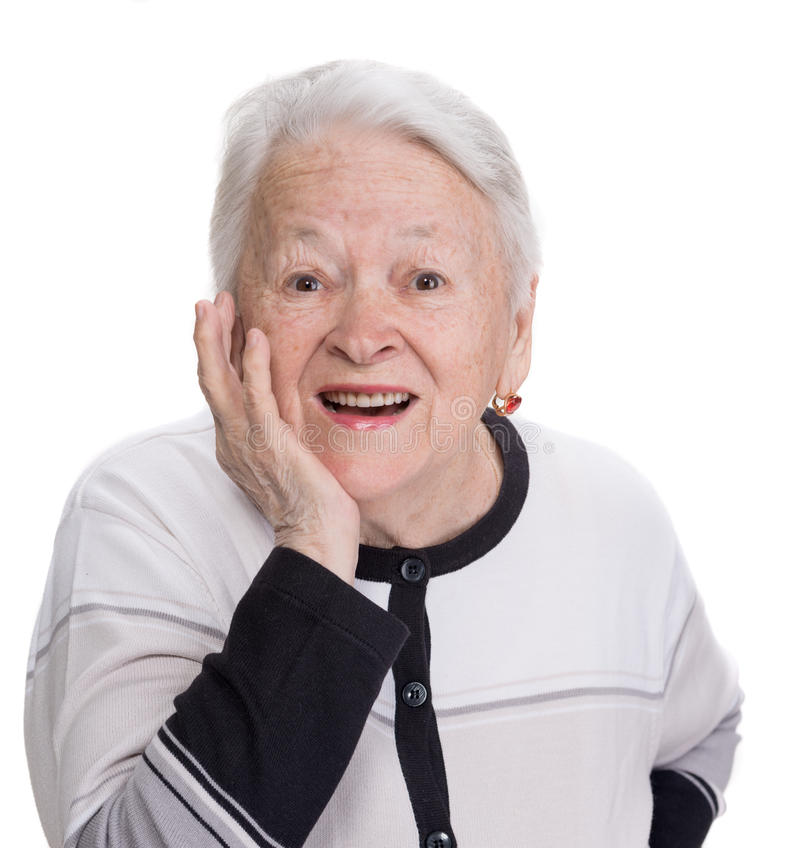 Portrait of surprised old woman. On a white background royalty free stock images