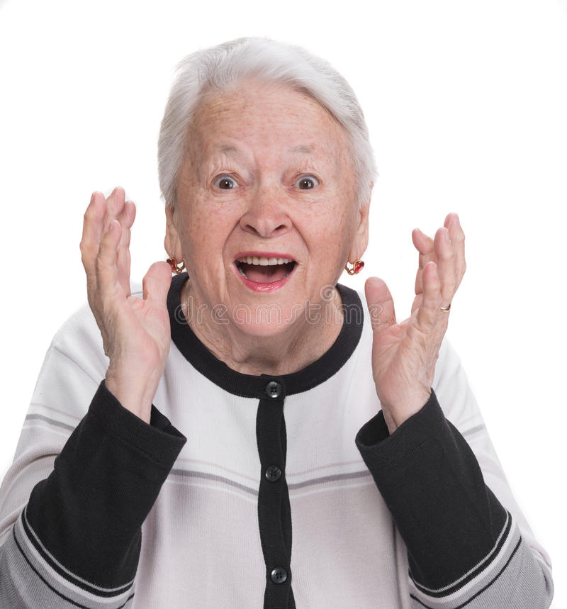 Portrait of surprised old woman. On a white background royalty free stock photos