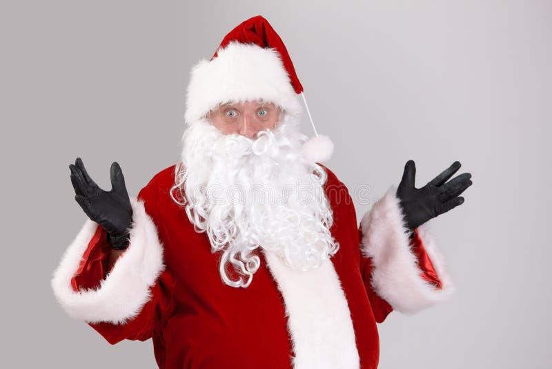 Portrait of surprised Santa Claus stock images