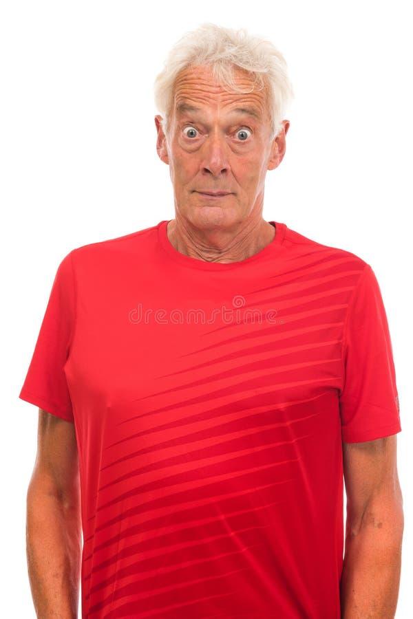 Portrait surprised senior sport man royalty free stock photos