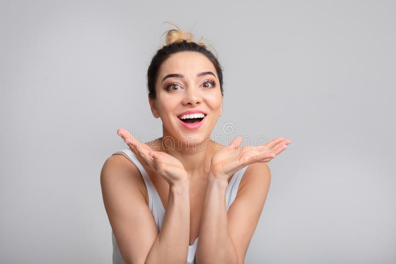 Portrait of surprised woman with opened mouth royalty free stock photography