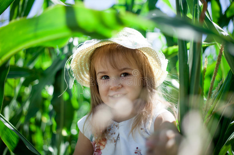 Portrait of sweet girl in a green meadow. stock photos